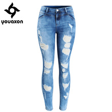 2080 Youaxon Women`s Plus Size Brand New Fashion Mid Waist Ripped Stretch Skinny Pants Jeans For Women True Denim Jean cheap COTTON Polyester spandex Full Length Softener Zipper Fly Button Pockets HOLE Bleached Washed Scratched Pencil Pants Medium