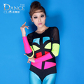 Female singer ds costume Neon Patchwork fashion Personality jazz dance clothes costumes