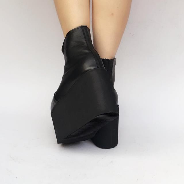 Fondo Moda Invierno Princesa Grueso Punk Casual 1 Sharp Cuero An1382 Black Zapatos Muffins dark Las De Y Grey Dulce Mujeres Botas t77q8w