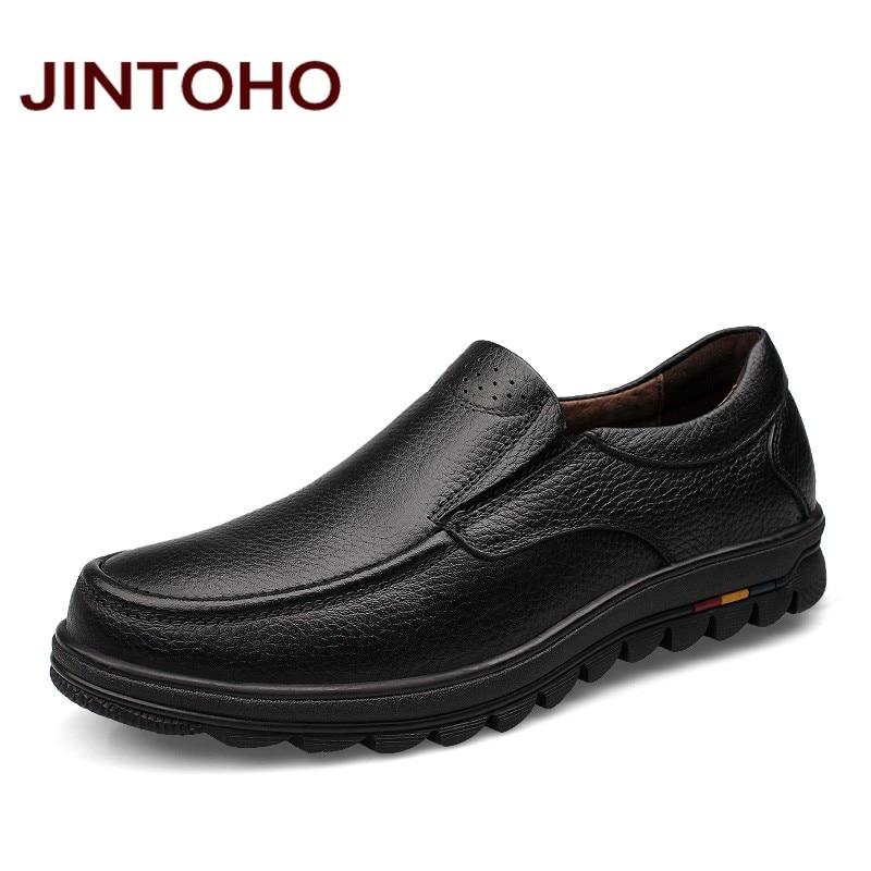 JINTOHO big size 38 48 mens dress italian leather shoes brand mens loafers genuine leather formal