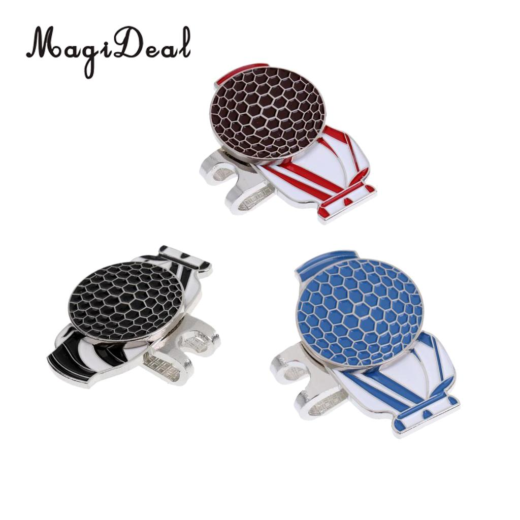 MagiDeal 3 Pieces Alloy Golf Ball Marker with Magnetic Hat Clip Golf Accessories - Cool Golf Bag Pattern