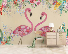 beibehang custom made wallpaper for kids room Tropical plant leaf flamingo hand drawn rose flower bird background wall