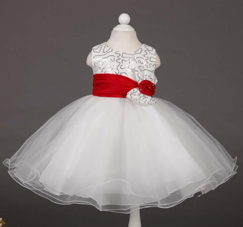 Baby girl pink sequin dress - Summer 2015 Baby Girl Party Wedding White Dress Toddler Kids Princess Tutu Sequin Dresses Flower Sash Vestido Clothes