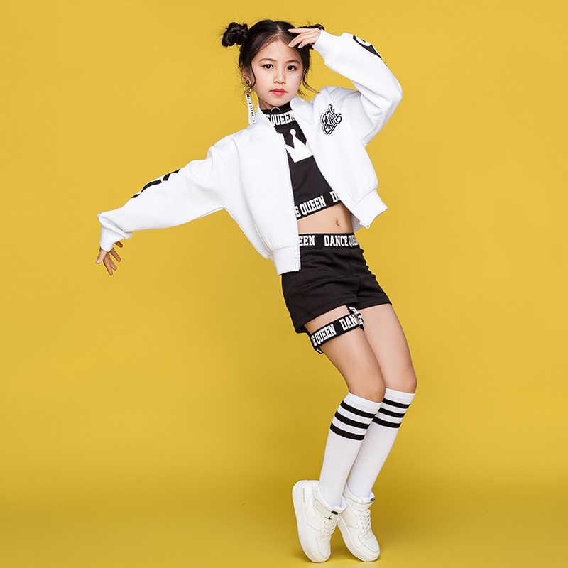 Детские Хип-Хоп Детские Танцевальные Костюмы Одежда для уличных танцев белая куртка черный жилет шорты для девочек этап танцевальной одежды, наряд DN1740