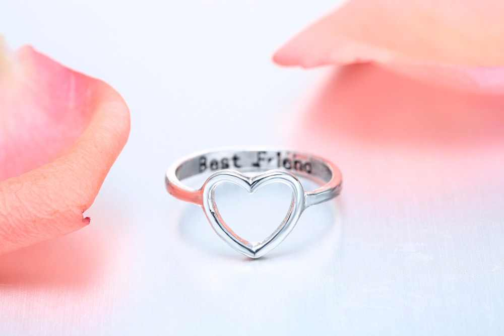 Chandler Brand Best Friends Love Shape Ring Anel Feminino Mid Finger Knuckle Toe Bague Friendship Eternal Forever Best Gifts