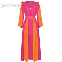 Высокое качество, новые моды 2019 Дизайнер взлетно посадочной полосы Макси платье Для женщин Фонари рукавом Очаровательная Цвет блок Плиссир