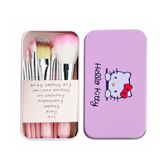 6e94a3cd8 7Pcs/Set Hello Kitty Pink Black Mini Makeup Brush Set Cosmetics Kit de  pinceis de maquiagem Make Up Brush Kit With Metal Box