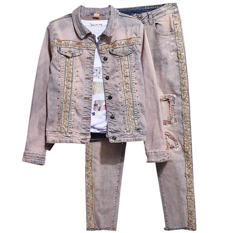 Jeans Set Woman Jean Jacket Pant Set Girls Female Sequined Denim Jacket Vintage Women Clothing Set