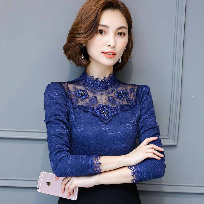 2018 new Korean plus velvet thickening long-sleeved womens warm clothes women short paragraph lace shirt