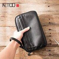 AETOO Retro men's handbag men's leather leather business fashion casual bag men's bag soft leather hand men's tide clutch bag