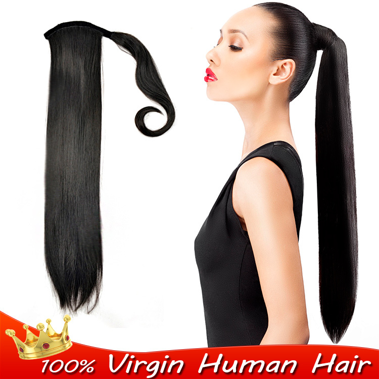 100 Remy Clip In Human Ponytails Hair Extension Long Straight Wrap
