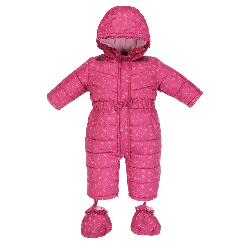 ФОТО 2017 Solid Cotton Jumpsuit Kid Hooded Long Sleeves baby Snow Wear Winter Thick Warm Baby Clothes 3-18M High Quality Baby Rompers