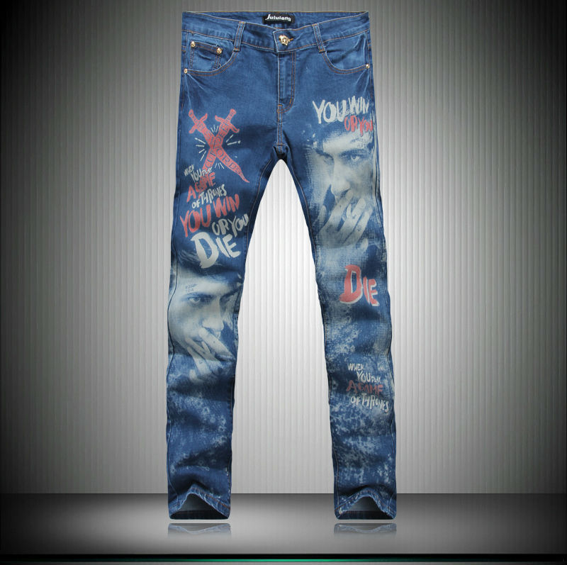 Casual fashion brand designer jeans men 2014 New Painted graffiti print men jeans denim skinny pants MB550 Z20 high quality 2017 new brand men jeans painted print jeans fashion jeans men calca jeans dsq 100