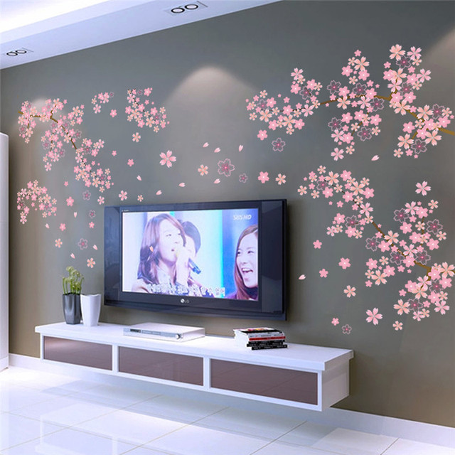 DIY Romantic Pink Plum Flower Tree Wall Sticker Living Room Bedroom Wall  Decal TV Sofa Background