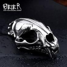 Байер магазин 316L нержавеющая сталь кулон ожерелье 3D Machairodus Smilodon голова динозавра Подвески Ювелирные изделия LLBP8-096P