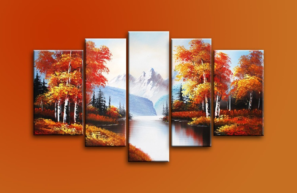 ▻hand painted 5 piece black white red modern oil paintings on ...