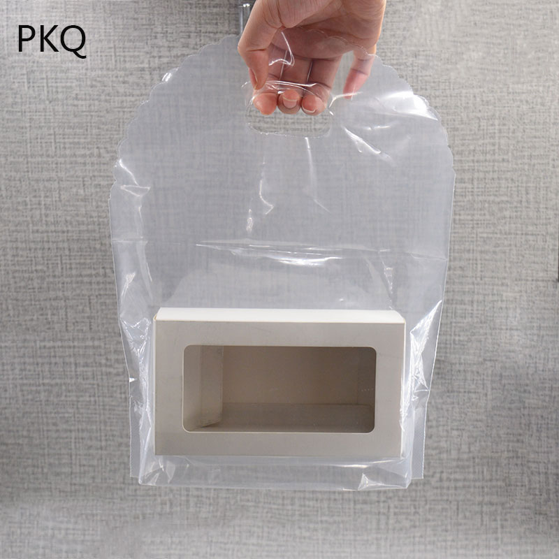 50pcs Transparent Clear Plastic Bag With Handles Salad