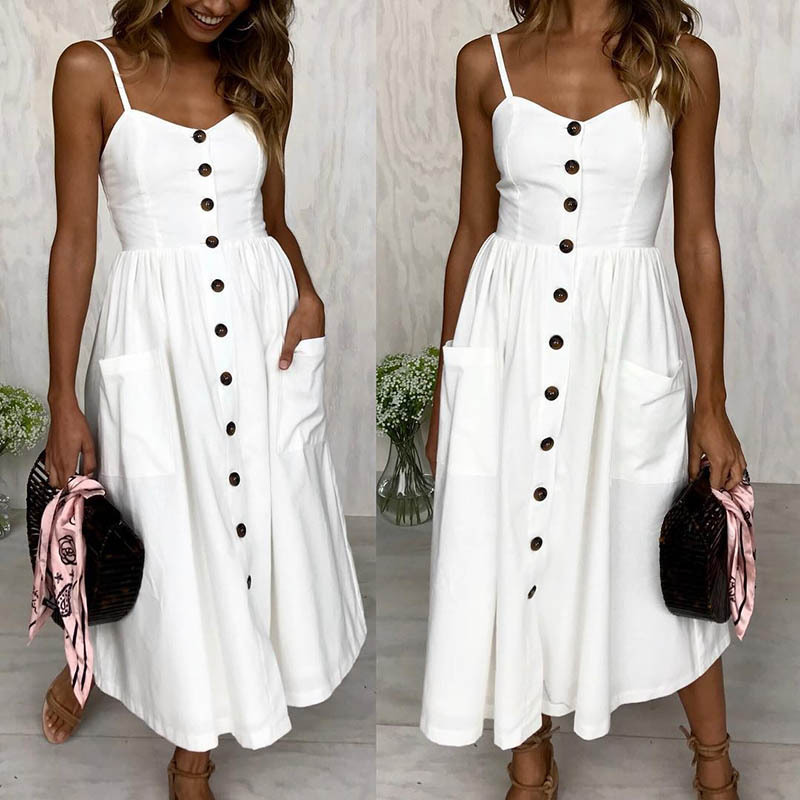 Bellflower Summer Dress Women 2018 Strapless V Neck Mid Dress Holiday Single Breasted Sling Beach Dress High Waist Sexy Dresses