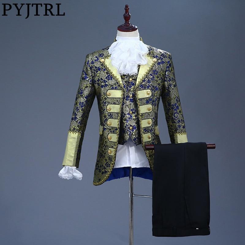 PYJTRL мужской классический пять частей комплект Европа Готический Стиль королевские костюмы Темно-синие фиолетовый костюм Для мужчин сценич...