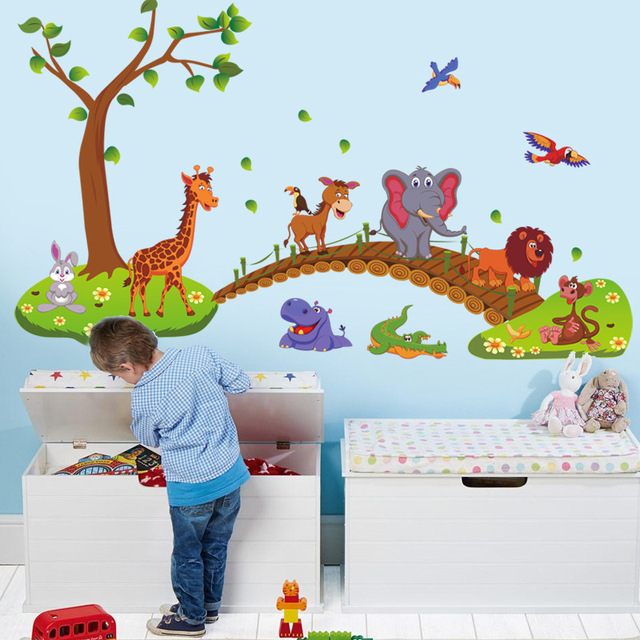 Cartoon Jungle Wild Animal Bridge 60*90cm Wall Area