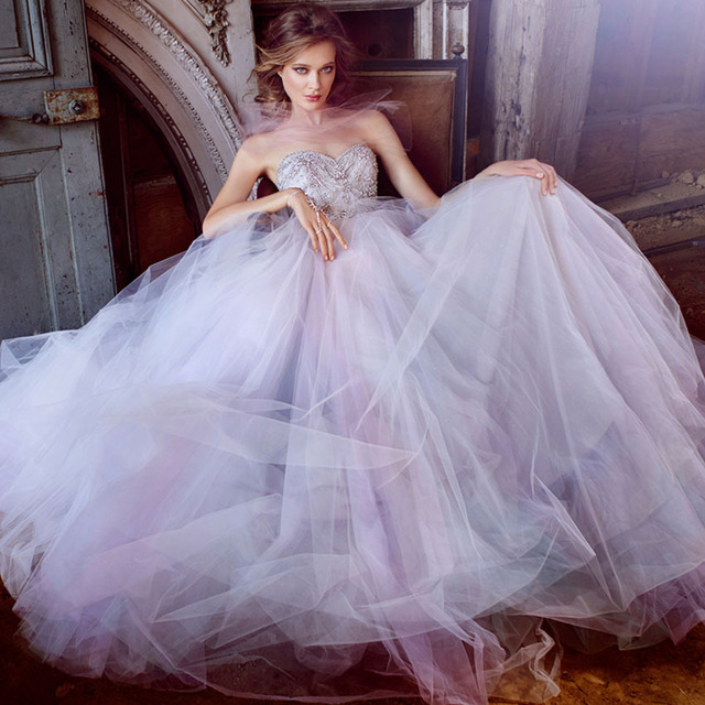 Puffy Ball Gown Wedding Dresses with Luxury Beading Tulle Lilac ...