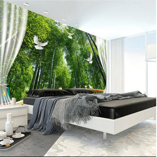Wall Murals Nature 3D Wall Murals Bamboo Forest 3D Space TV Wall Paper  Bedroom Living Room