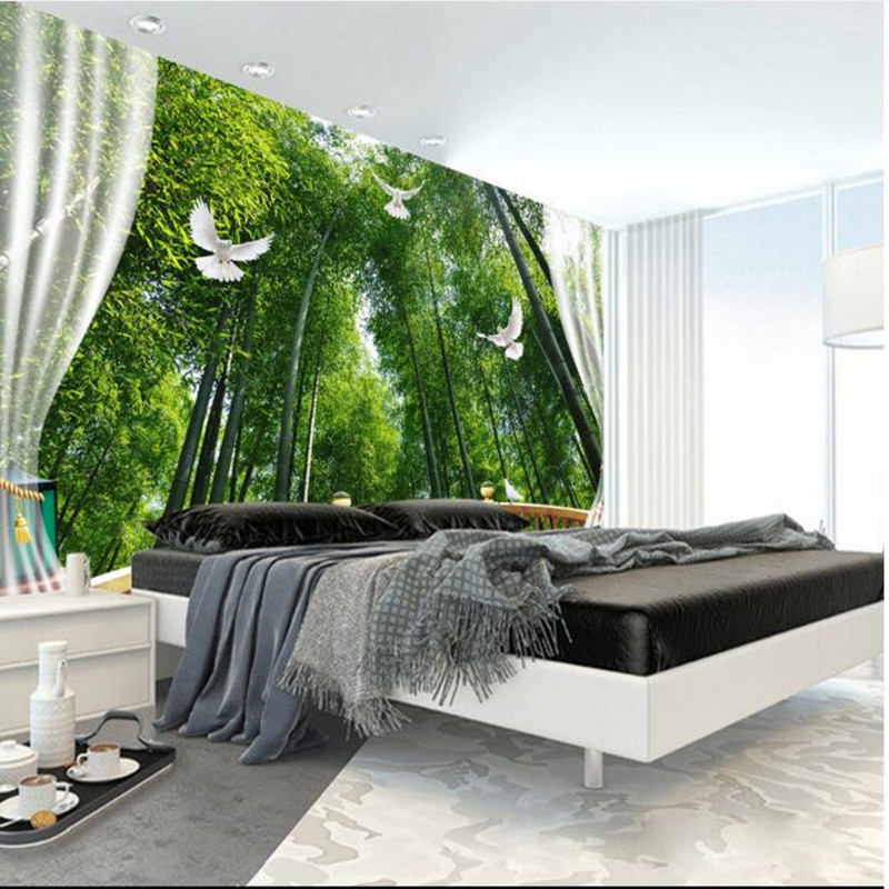 Wall Murals Nature 3D Wall Murals Bamboo Forest 3D Space TV Wall paper Bedroom Living Room Sofa Background Home Decor Wallpapers