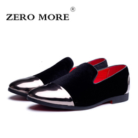 ZERO MORE Leather Men Casual Shoes Fashion Flock Comfortable Breathable Wedding Party Men Shoes 2017 Fall