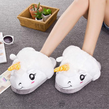 2017 New Women Cute Cartoon Warm Indoor Slippers Plush Unicorn Fur Slippers For Grown Ups Casual Home Slippers Summer Flats