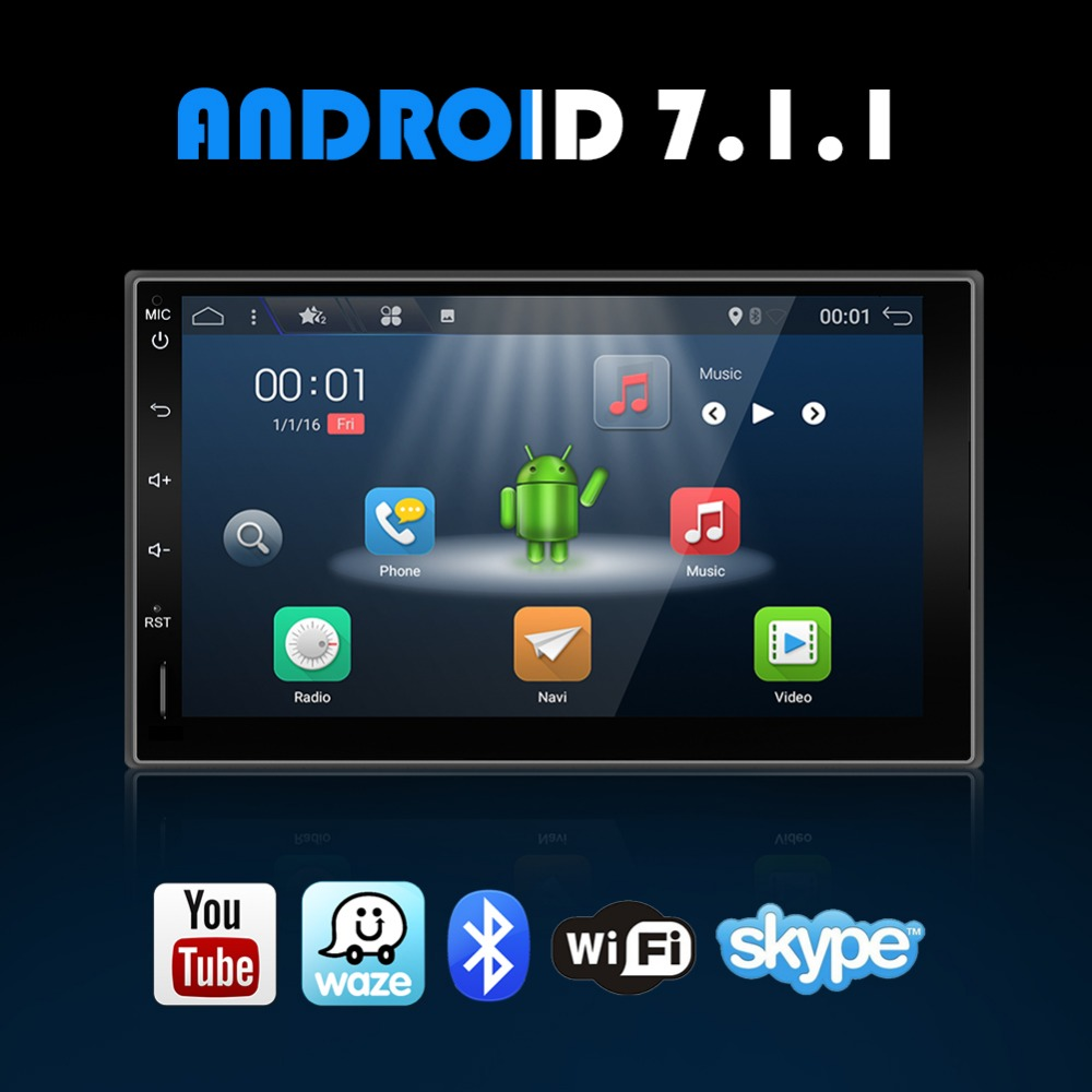 Quad Core Universal 2 Din Android 7 1 Car DVD Player GPS Wifi Bluetooth Radio ROM