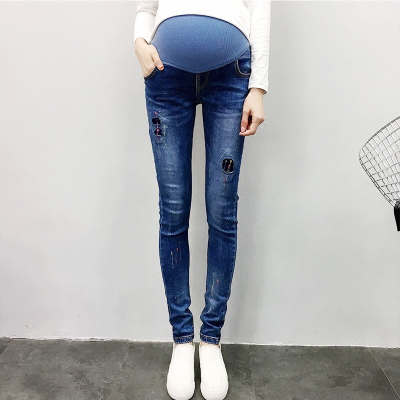 New 2018 Autumn Pregnant Women Fashion Casual Vintage Denim Pencil Elastic Waist Belly Pants Maternity Cotton Jeans Trousers Hot pregnant women elastic stretchy cotton jeans denim pencil pants maternity trousers elastic waist comfortable plus size clothing