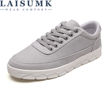 LAISUMK Brand Design Men Shoes Casual Wild Fashion Canvas Lace Up New Spring Flat For
