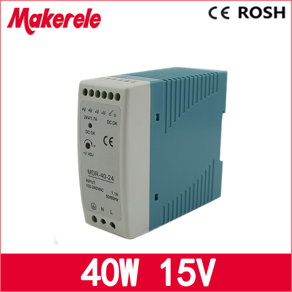 LED driver 40w Mini Size Power Supply Din Rail ac dc switching power supply 15v 2.6a Mdr-40-15 compact size mdr 100 24 din rail led driver 100w 24v output dc dinrail power supply