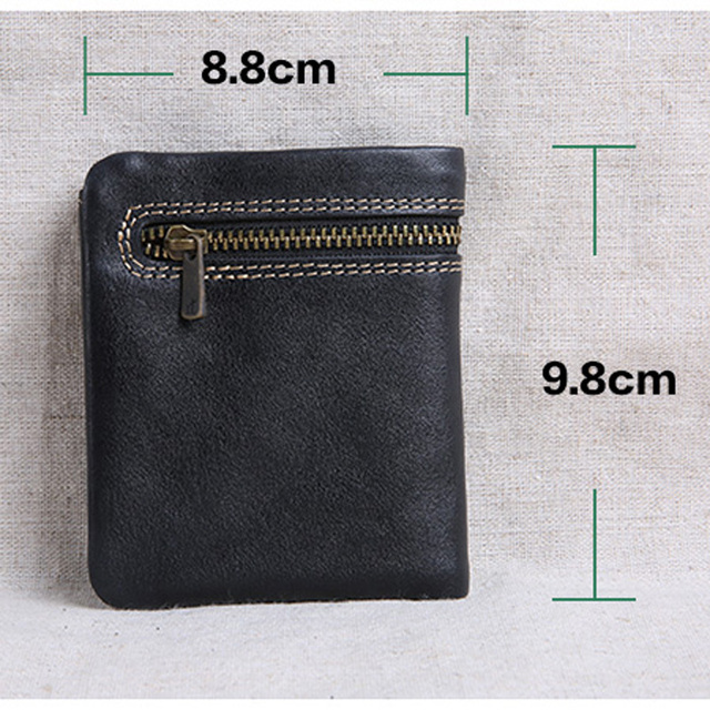 AETOO Mini purse men and women handmade leather ultra-thin soft leather wallet first layer leather wallet short zipper buckle 6