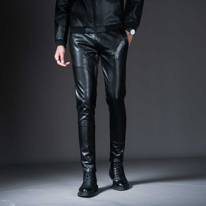 New Winter Mens Skinny Biker Leather Pants Fashion Faux Leather Motorcycle Trousers For Male Stage Club Wear