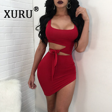 XURU summer new nightclub womens dress sexy simple waist hollow knotted sleeveless solid color