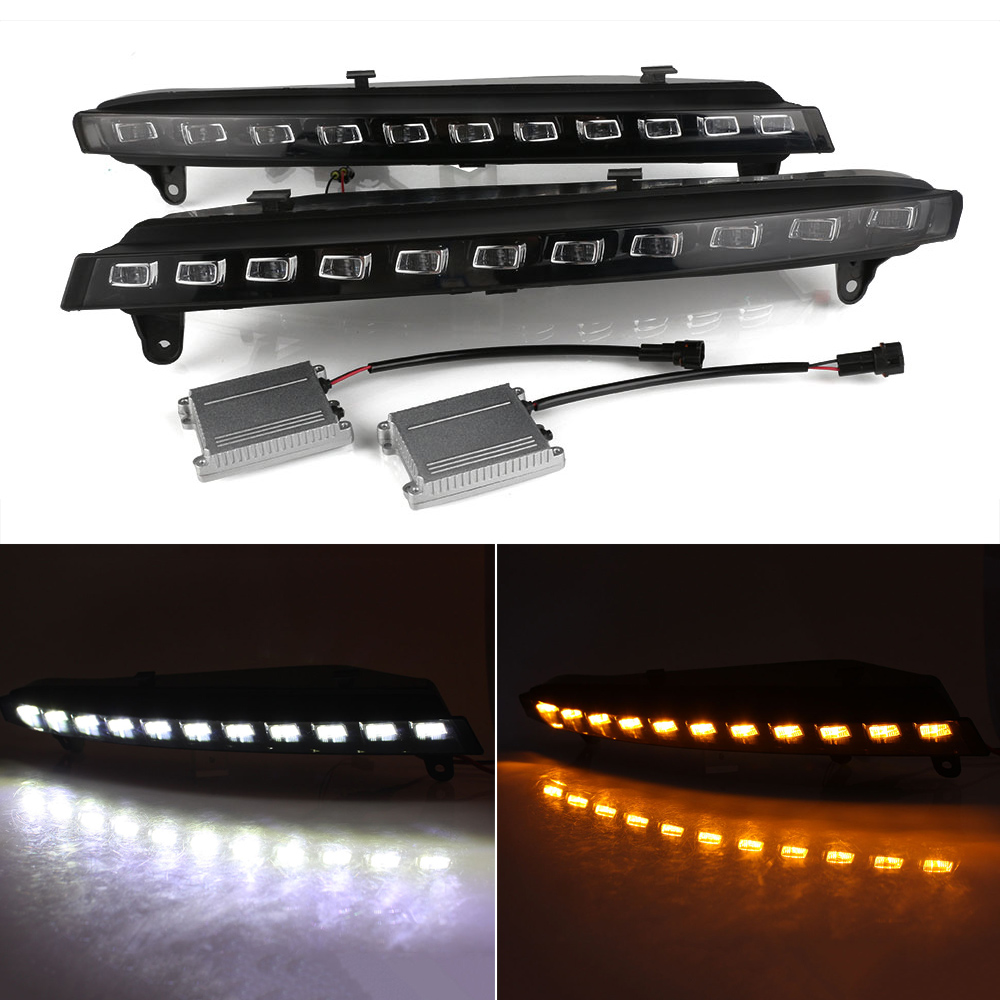 Car Light Assembly Auto LED DRL Driving Daytime Running Light Driving Lamp White Yellow For Audi Q7 2006-2009 D35 auto led car bumper grille drl daytime running light driving fog lamp source bulb for vw volkswagen golf mk4 1997 2006 2pcs