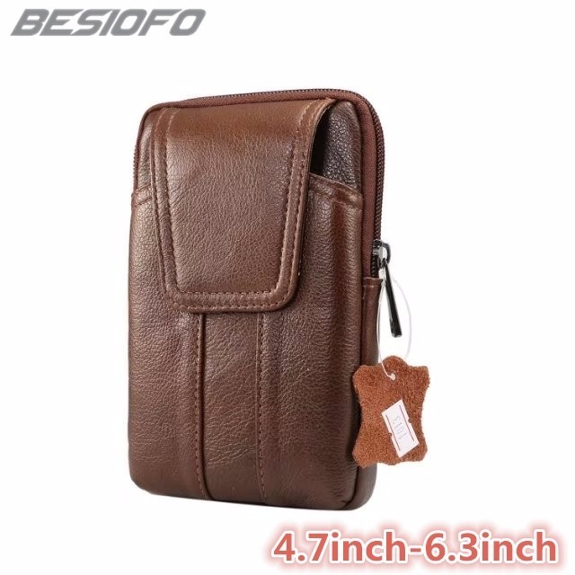 Belt Waist Bag Holster Zipper Pouch Double Pockets Cover Genuine Leather Phone C
