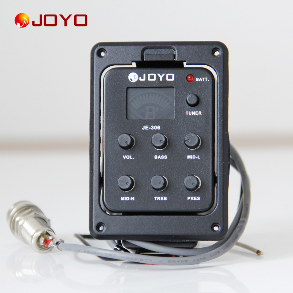 New Joyo Pickup For Guitar JE-306 5 Band EQ with Tuner guitar accessories guitar pick holder joyo eq 307 folk guitarra 5 band eq acoutsic guitar equalizer high sensibility presence adjustable with phase effect and tuner