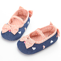 Cute Kids Infant Toddler Baby Girls Shoes Navy Denim Dot Bow Embroidered Heart Soft Sole Crib Shoes Sapato Menina Zapatos Nina