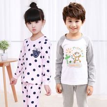 Autumn winter Kids long sleeved Pajamas Sets Girls Pajama boys Sleepwear children Home Clothing Cartoon Baby nightgown 3-10T