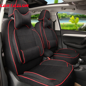 CARTAILOR Car Seat Cover Custom for 2011 Mitsubishi Pajero Sport Seat Covers Linen Cloth Cover Seats Protector Accessories Set