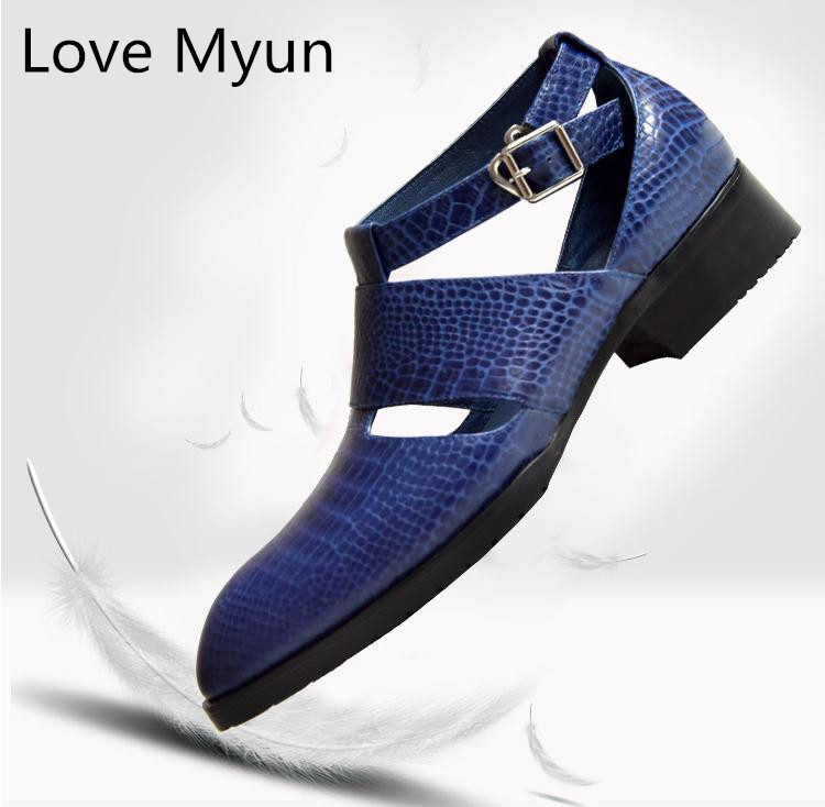 New mens high quality genuine leather sandals pointed toe buckle summer dress shoes men business leisure casual shoes man sandal