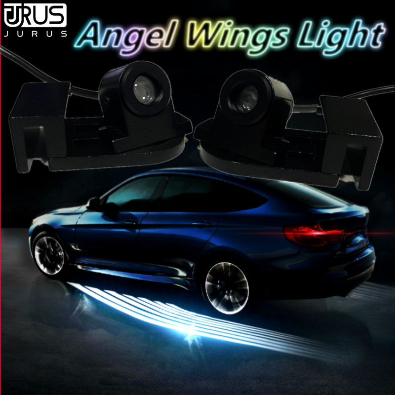 JURUS Universal 2 x Led Lamp For Auto Angel Wings Car Welcome Lights Shadow Projector Door Warning Light Accessories All Cars