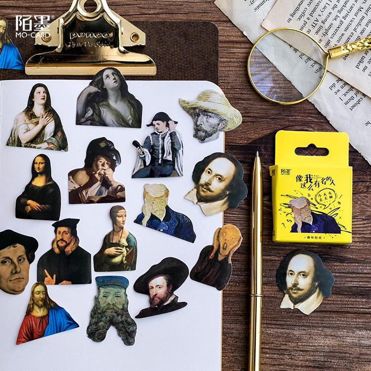 45 Pcs/Pack Famous Artist Mini Sticker Decoration Diy Scrapbooking Sticker Stationery Kawaii Diary Label Sticker