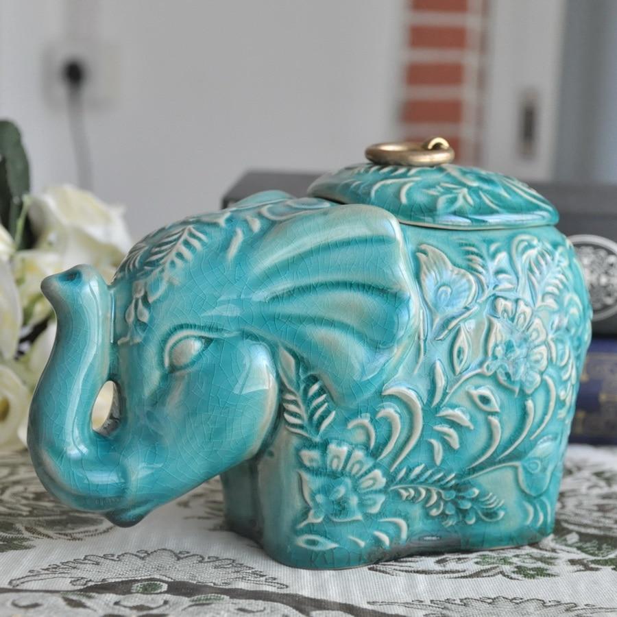 ceramic creative elephant Candy Storage Bottles tea Jars home decor ...