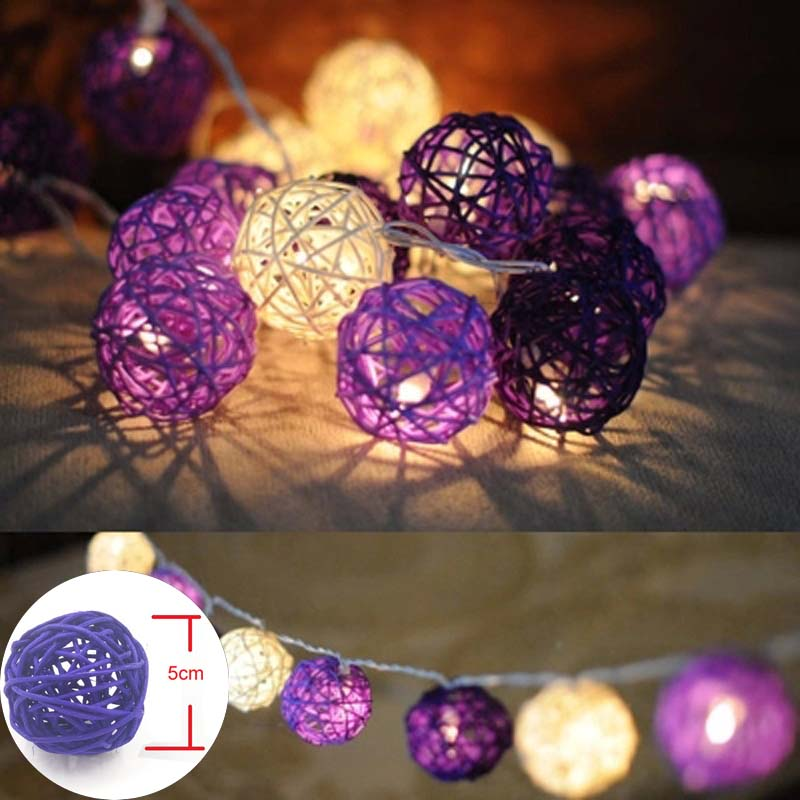 YIMIA 5m 20 Rattan Balls LED String Fairy Light Purple White Sepak Takraw Outdoor Christmas Wedding Party Decoration Lights
