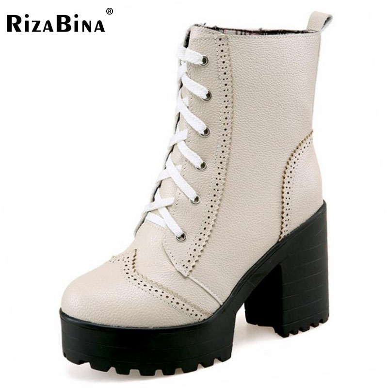 RizaBina Size 33-43 Ladies High Heels Mid Calf Boots Women Round Toe Cross Tied Shoes Women Thick Platform Winter Warm Botas asumer large size 34 43 mid calf boots round toe med heels platform women boots high quality pu leather thick winter snow boots