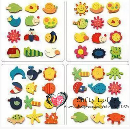 12pcs/lot Wood stickers Baby Childrens Early Learning creative gifts educational toys stickers/Safe wooden magnets kids