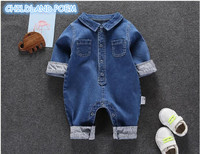 Soft Denim Baby Romper For Boys Spring Baby Boys Clothes Newborn Infant Baby Jumpsuit Handsome Baby